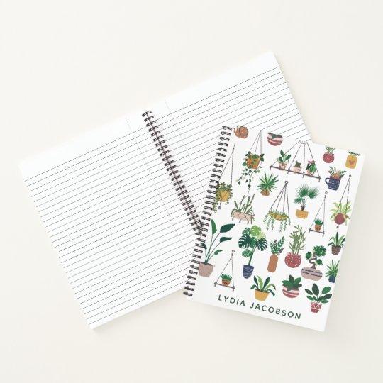 Boho Plant Lady Illustration Personalized Notebook