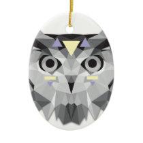 Boho poly owl ceramic ornament