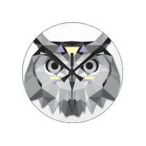 Boho poly owl round clock
