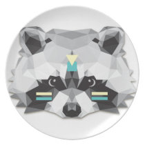 Boho poly raccoon dinner plate