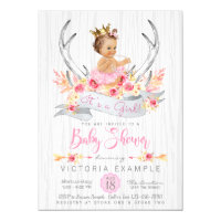 Boho Princess Tribal Antler Baby Shower Invitation