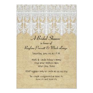 BOHO Printed Burlap n Lace gypsy Modern Mod Style 5x7 Paper Invitation Card