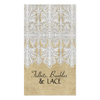 BOHO Printed Burlap n Lace gypsy Modern Mod Style Double-Sided Standard Business Cards (Pack Of 100)