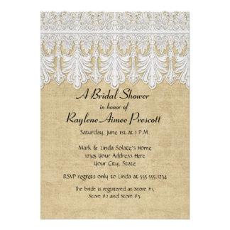 BOHO Printed Burlap n Lace gypsy Modern Mod Style Custom Invitations