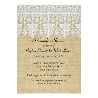 BOHO Printed Burlap n Lace gypsy Modern Mod Style Custom Invites