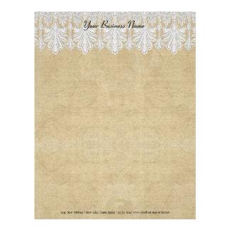 BOHO Printed Burlap n Lace gypsy Modern Mod Style Letterhead