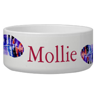 Boho Purple & Pink Watercolor Feathers Pet's Name Bowl
