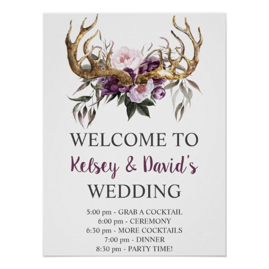 Boho Purple Plum Pink Peonies Wedding Details Poster