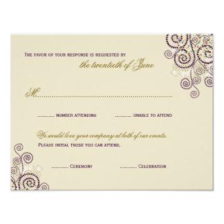 "Boho Purple Spirals Bat / Bar Mitzvah RSVP Card 4.25"" X 5.5"" Invitation Card"