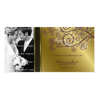 Boho Purple Spirals Wedding Thank You PhotoCard Card