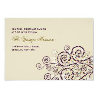 Boho púrpura elegante tuerce en espiral recepción invitación