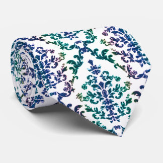 Boho Rainbow Damask Print Neck Tie