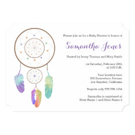 Boho Rainbow Dreamcatcher Baby Shower Invitation