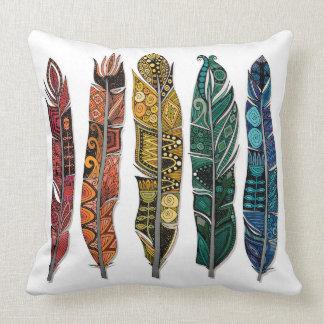 boho rainbow feathers throw pillow
