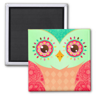 Boho Red & Green Owl 2 Inch Square Magnet