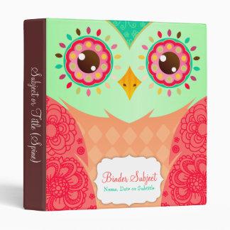 Boho Red & Green Owl Binders