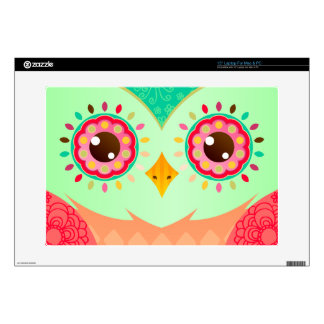 "Boho Red & Green Owl Decal For 15"" Laptop"