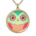 Boho Red & Green Owl Gold Plated Necklace
