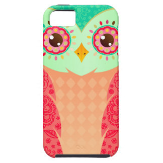 Boho Red & Green Owl iPhone 5 Cases