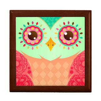 Boho Red & Green Owl Jewelry Box