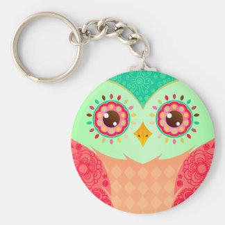 Boho Red & Green Owl Keychain