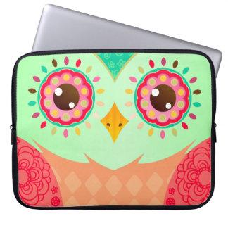 Boho Red Green Owl Laptop Sleeves