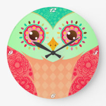 Boho Red & Green Owl Large Clock