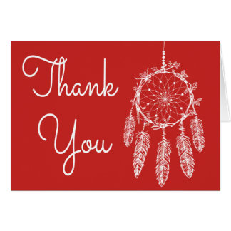 Boho Red Thank You Dream Catcher Native American Card