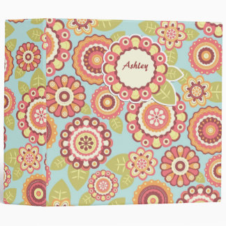Boho Retro Funky Flowers Floral Pattern (Blue) 3 Ring Binder