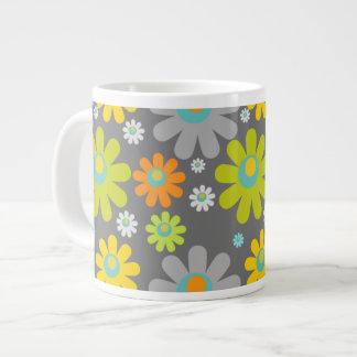 Boho Retro Grey/Gr/Yel/Org Daisies on Grey Large Coffee Mug