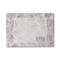 Boho rose gold floral elephants white marble post-it notes