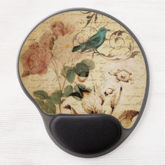 boho Rose Paris Scripts french bird botanical Gel Mouse Pad
