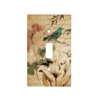 boho Rose Paris Scripts french bird botanical Light Switch Cover