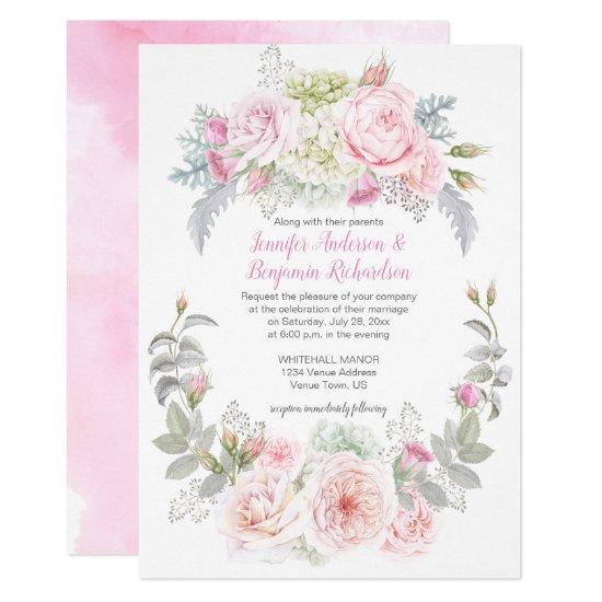 Boho Roses Hydrangeas Floral Wedding Invitations
