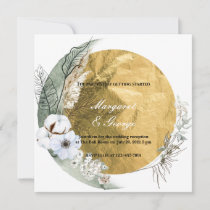 Boho Round Floral Frame Gold Wedding Invitation