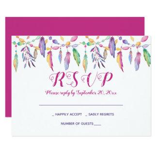 Boho RSVP Purple Wedding Feathers Native American Invitation