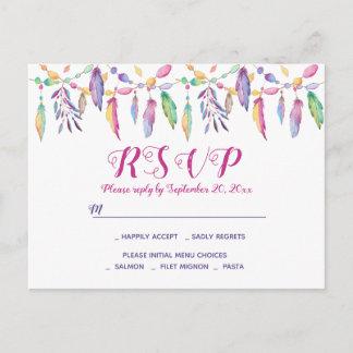 Boho RSVP Purple Wedding Feathers Native American Invitation Postcard