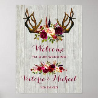 Boho Rustic Antler floral Wedding Sign