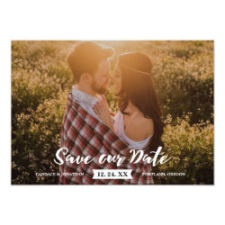 Boho Rustic Brush Script Photo Save the Date