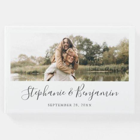 Boho Rustic Custom Photo Handwriting Wedding Guest Book