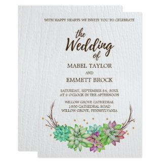 Boho Rustic Desert Floral Succulent Wedding Card