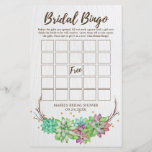 """Boho Rustic Floral Succulent Bridal Bingo Game<br><div class=""""desc"""">This boho rustic floral succulent &quot;bridal bingo&quot; game is perfect for a desert theme bridal shower. The front of the game card features &quot;bridal bingo&quot;, and the back of the card features &quot;what did the groom say?&quot; with customizable questions. The design features lovely colorful green, pink and purple succulents arranged...</div>"""