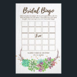 """Boho Rustic Floral Succulent Bridal Bingo Game Flyer<br><div class=""""desc"""">This boho rustic floral succulent &quot;bridal bingo&quot; game is perfect for a desert theme bridal shower. The front of the game card features &quot;bridal bingo&quot;, and the back of the card features &quot;what did the groom say?&quot; with customizable questions. The design features lovely colorful green, pink and purple succulents arranged...</div>"""