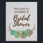 "Boho Rustic Floral Succulent Bridal Shower Welcome Poster<br><div class=""desc"">This boho rustic floral succulent bridal shower welcome poster is perfect for a rustic country or desert theme bridal shower. The design features lovely colorful green, pink and purple succulents arranged on a branch wreath and accented with faux gold confetti. Customize the poster with the name of the bride-to-be. Designed...</div>"