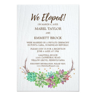 Boho Rustic Floral Succulent Elopement Reception Card