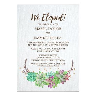 Boho Rustic Floral Succulent Elopement Reception Card