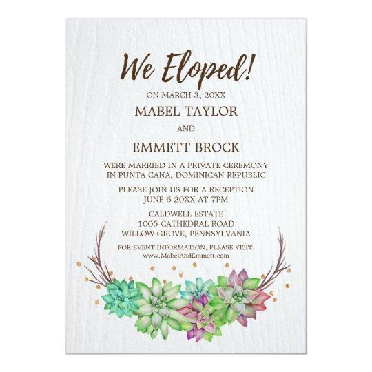boho rustic floral succulent elopement reception invitation zazzle com