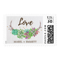 "Boho Rustic Floral Succulent ""Love"" Wedding Postage"