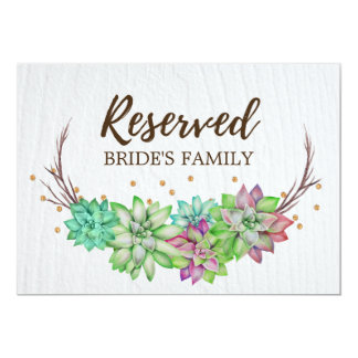 Boho Rustic Floral Succulent Wedding Reserved Sign Card
