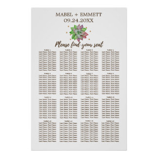 Boho Rustic Floral Succulent Wedding Seating Chart